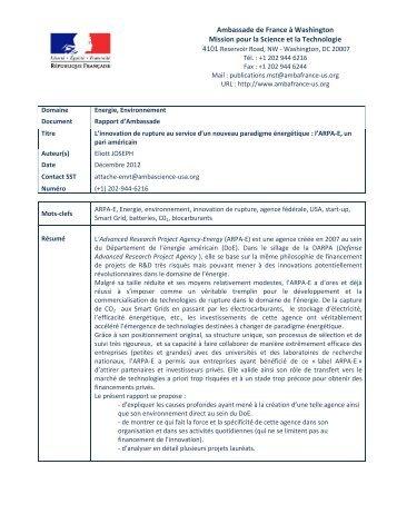 Ambassade de France à Washington Mission pour la Science et la ...