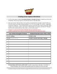 Creating Career Options Worksheet