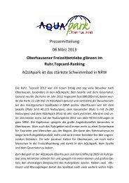 AQUApark Oberhausen unter den TOP 3 Erlebnisbädern