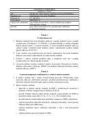 Zásady pro vedení matriky studentů na Univerzitě ... - Dokumenty
