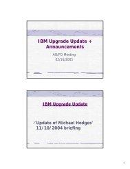 IBM Upgrade Update + Announcements