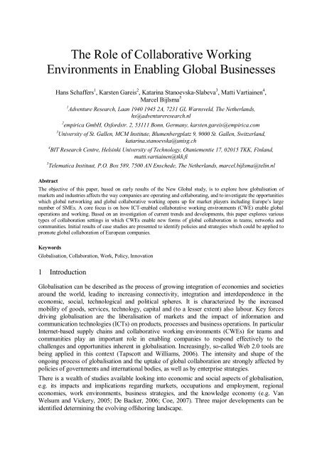 The Role of Collaborative Working Environments in ... - ResearchGate