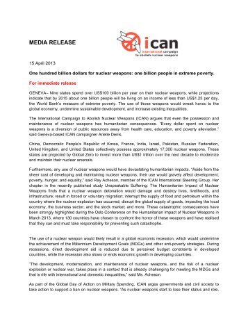 media release - International Campaign to Abolish Nuclear Weapons