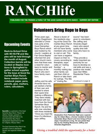 RANCHlife Newsletter – Summer 2007 - Good Samaritan Boys Ranch