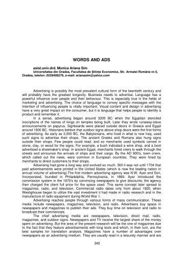 words and ads - Facultatea de Ştiinţe Economice - Universitatea din ...