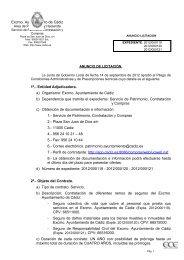 Excmo. Ayuntamiento de Cádiz 1º.- Entidad Adjudicadora. a ...