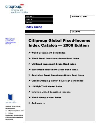 Citigroup Global Fixed-Income Index Catalog ... - The Yield Book