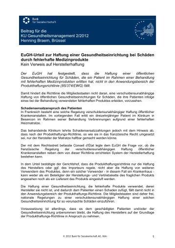 Beitrag für die KU Gesundheitsmanagement 2/2012 Henning Braem ...