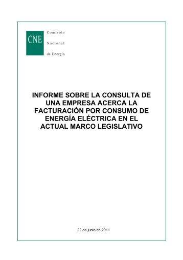 informe sobre la consulta de una empresa acerca la facturación por ...