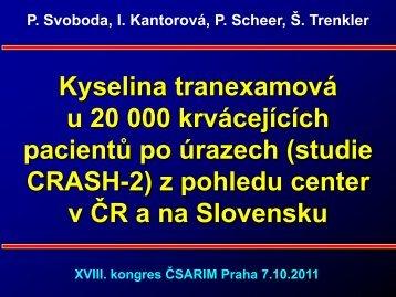 Kyselina tranexamová u 20 000 krvácejících pacientů po úrazech