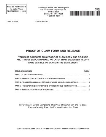 Proof Of Claim Form  Shareholders Foundation