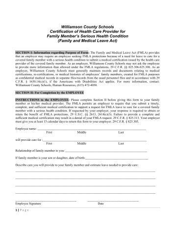 Fmla Employee Form Williamson County Schools