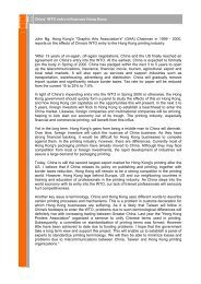 China' WTO entry influences Hong Kong John Ng, Hong Kong's ...