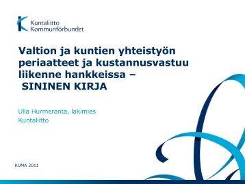 Valtion ja kuntien kustannusjako maantien- ja ... - Kunnat.net