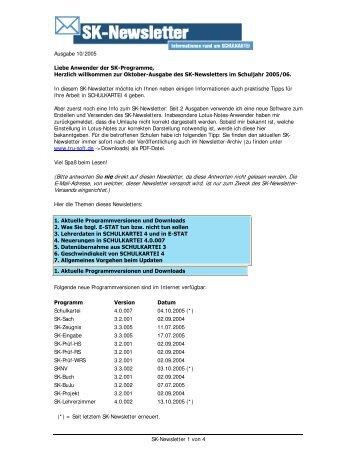 SK-Newsletter 1 von 4 Ausgabe 10/2005 Liebe Anwender der SK ...