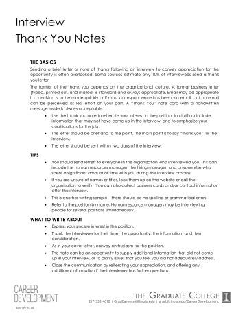 job fair check list and sample thank you letter
