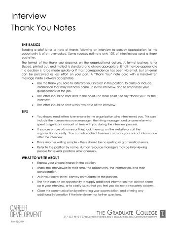 Job Fair Check List And Sample Thank You Letter Ohlone College
