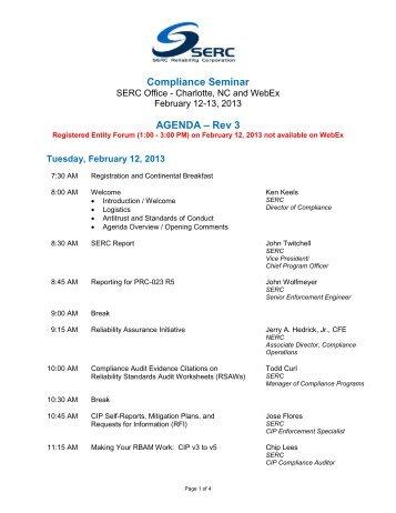 Compliance Seminar Agenda - SERC Home Page
