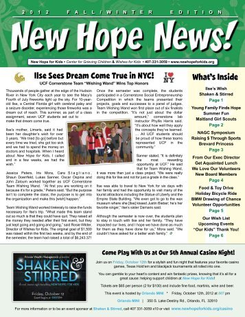 to view our most recent newsletter - New Hope for Kids