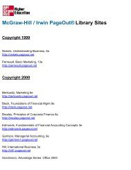 McGraw-Hill / Irwin PageOut® Library Sites Copyright 1999