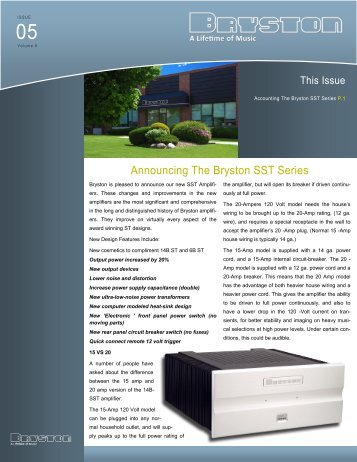 Announcing The Bryston SST Series
