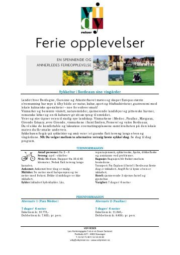Sykkeltur i Bordeaux sine vingårder - Vidy Reiser