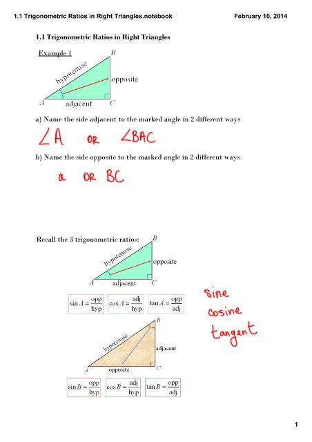 1 2 Investigating the Sine, Cosine, and Tangent of Obtuse