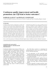 Continuous quality improvement and health promotion: can CQI ...