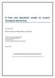 Final Report of the High Level Group on Media Freedom and Pluralism