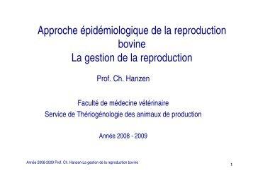 Approche épidémiologique de la reproduction bovine La gestion de ...