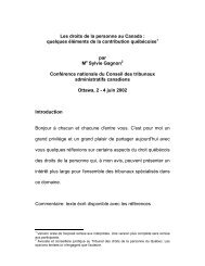 Les droits de la personne au Canada : quelques éléments ... - CCAT