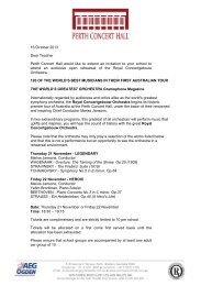 16 October 2013 Dear Teacher Perth Concert Hall would like to ...