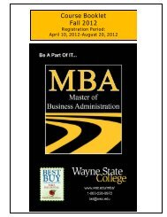MBA Course Booklet 129 - Wayne State College