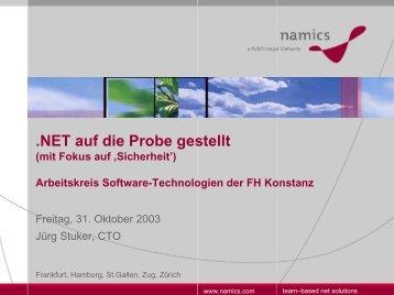 .NET auf die Probe gestellt mit Fokus auf Sicherheit - Regionaler ...