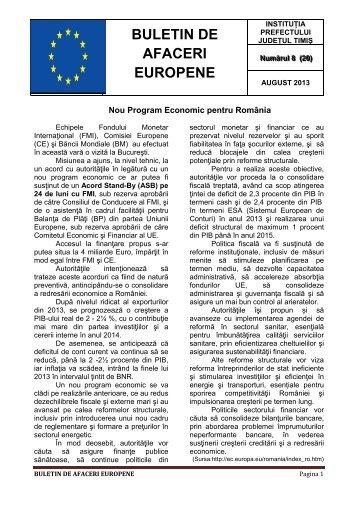 Buletin de Afaceri Europene nr. 8 - august 2013 - Prefectura Timis
