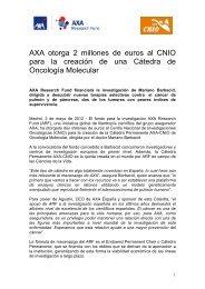 AXA otorga 2 millones de euros al CNIO para la creación de una ...