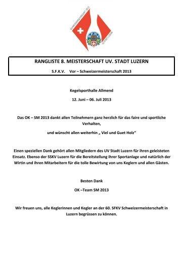 Rangliste - Unterverband Stadt Luzern
