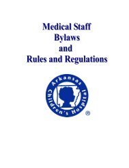 Medical Staff Bylaws - Arkansas Children's Hospital