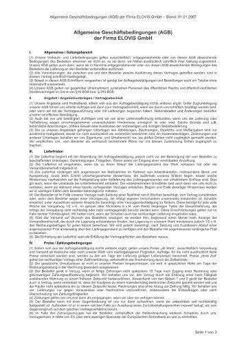 Allgemeine Geschäftsbedingungen - Elovis GmbH