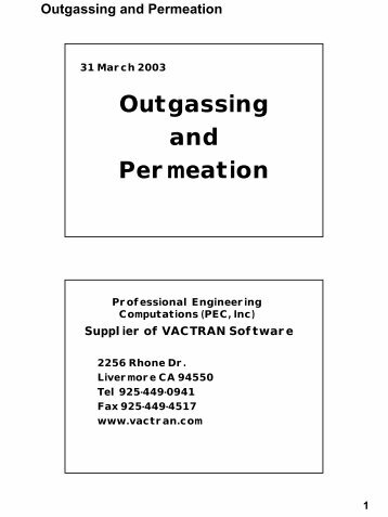 Outgassing and Permeation