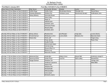 Schedule Basic Listing - St. Barbara Church