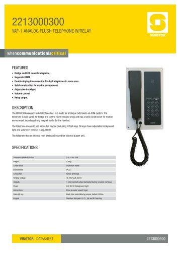 VAF-1 ANALOG FLUSH TELEpHONE W/RELAY - Zenitel