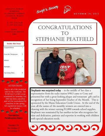 CONGRATULATIONS TO STEPHANIE PEATFIELD