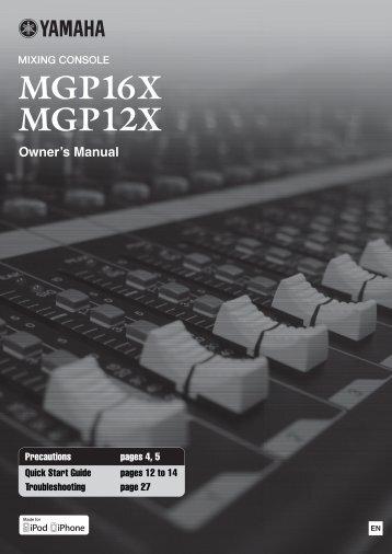 MGP16X/MGP12X Owner's Manual
