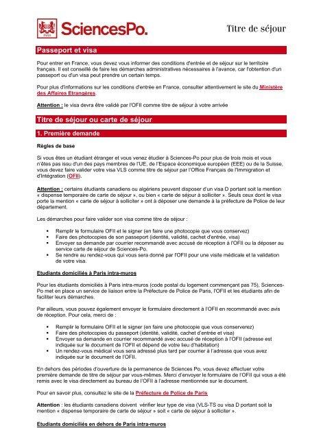 Flash Info Carte De Sejour Sciences Po International