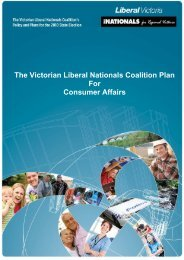 The Victorian Liberal Nationals Coalition Plan For Consumer Affairs