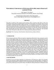 PERFORMANCE COMPARISON OF IPV6 VERSUS IPV4 IN ...