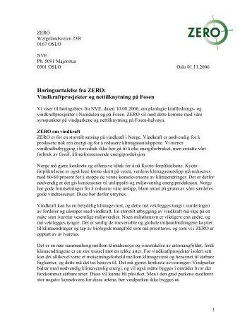Vindkraftprosjekter og nettilknytning på Fosen - Zero