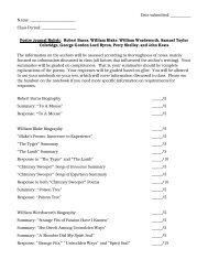 Poetry Journal Rubric: Robert Burns, Wi