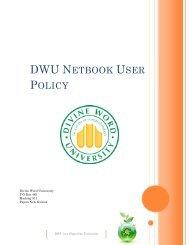 dwu netbook user policy - DWU Intranet - Divine Word University